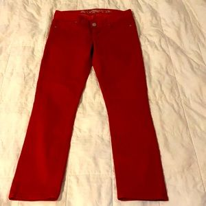 Fire red cropped jeans! 🔥